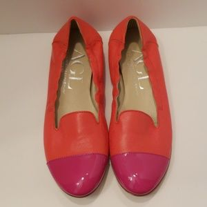 AGL Orange and Hot Pink Leather Flats size 7 1/2